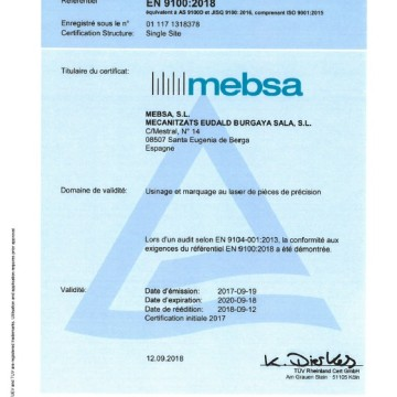 We have EN 9100 & ISO 9001 Quality Certificates