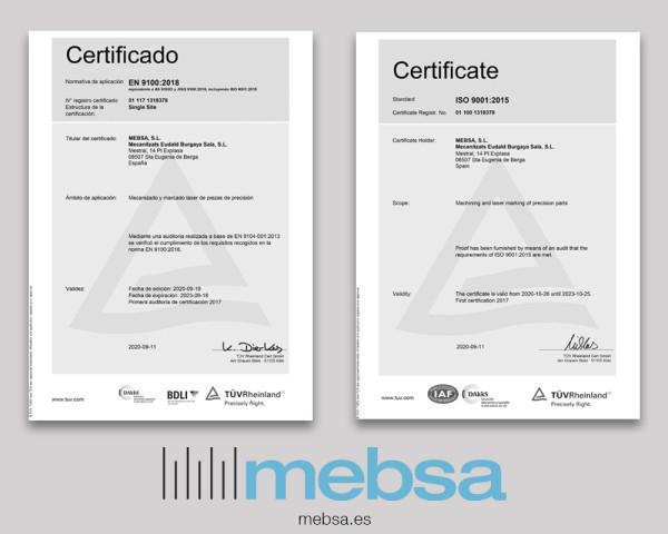 Certificados ISO 9001 y EN 9100
