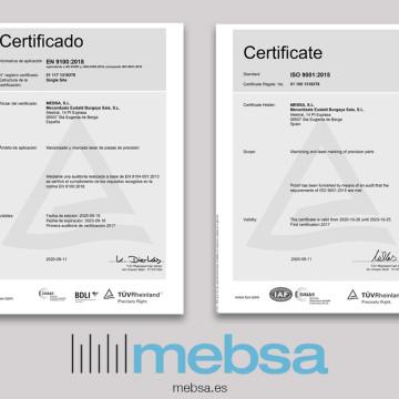 MEBSA EIN ISO9001 UND EN9100 ZERTIFIZIERTES UNTERNEHMEN